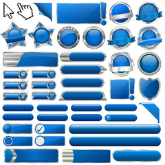 Collection of colorful blue glossy 3d vector buttons