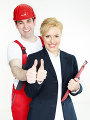 Apprentices for mechanic and office show thumbs up