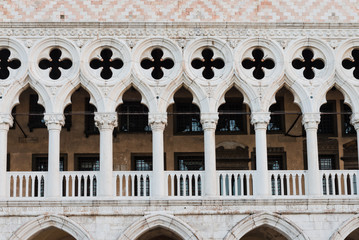 Architectural detail - Doge's palace in St Mark's Square in Veni