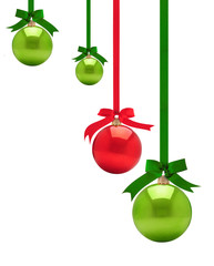 Christmas ornaments against white background.