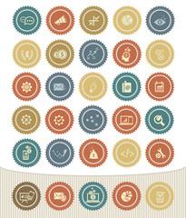 Strategy and marketing icon set,Retro button
