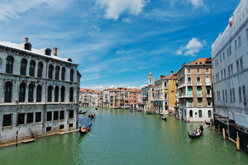 View of the Grand Canal from the Rialto Bridge. Venice