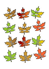 Comic Herbstblätter, Laub