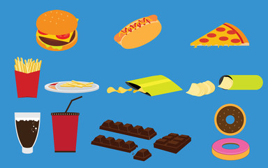 Set of Fastfood Junk food and Snack Vectors