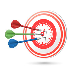 time concept target with darts hitting on it