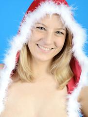 Frau in Weihnachtsmann Dessous zeigt Dekolleté