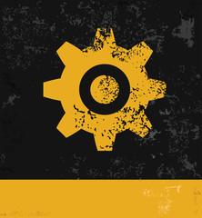 Gear symbol,grunge vector