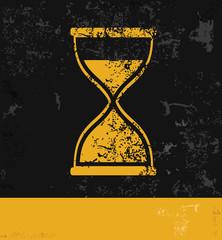 Hourglass symbol,grunge vector