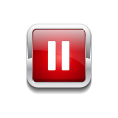 Pause Rounded Rectangular Vector Red Web Icon Button