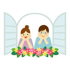 窓辺の夫婦 / vector eps10