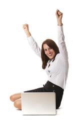 Businessfrau mit einem Notebook