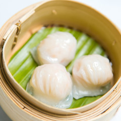Chinese dim sum 'Hagao' in bamboo basket