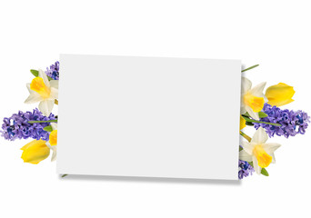 Empty tag for your text and fresh  flowers