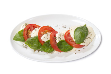 caprese on a white plate
