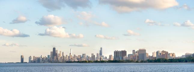 Panoramic photo of Chicago summer day