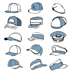 cap set isolated on white hat icon vector baseball rap
