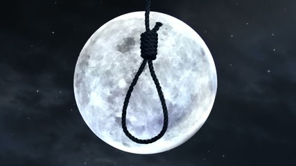 Hanging a noose with the moon in the background.