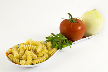 onion, tomato, parsley and pasta