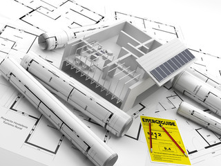 Construcción de un edificio. Energías renovables. Real Estate