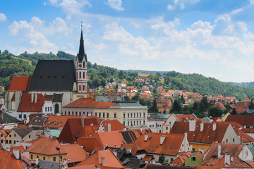Old city tower view in Cesky Krumlov, Chech republic.