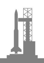 Grey rocket icon on white background