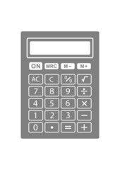 Grey calculator icon on white background