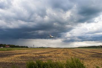 Airplane landing on airport