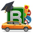 Vector Driving School Concept with Car