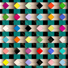 abstract geometric background, retro/vintage style, grungy