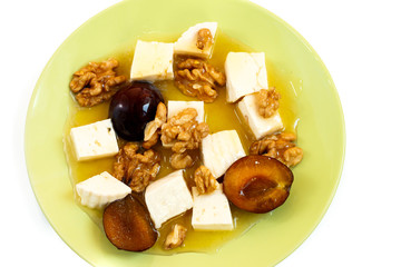 cheese, plum and walnut salad with honey