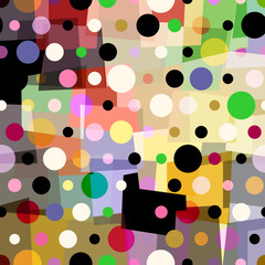 abstract polka dots background, with circles and trapeze