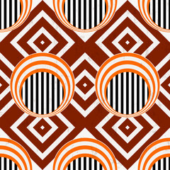 seamless abstract background, retro/vintage style, with circles,