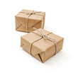 Parcels wrapped with brown paper and tied