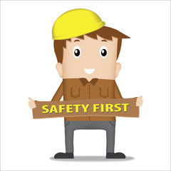 man with safety first sign