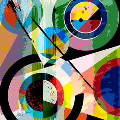 abstract geometric background, with circles, triangles, paint st