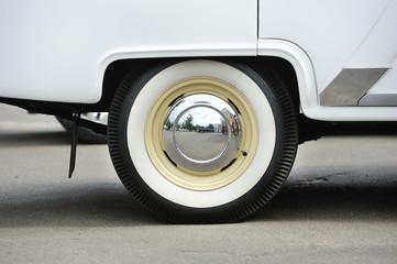 retro car wheel with white rubber