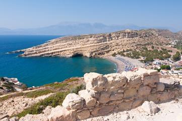 Beach of Matala seen the mountain on Crete, Greece.