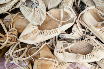 hand-made traditional leather shoes for villagers