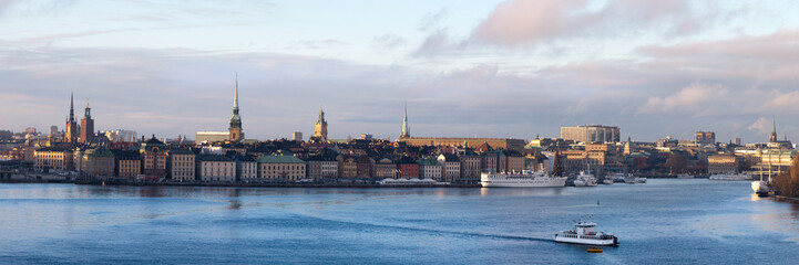 panorama of the embankment of the Old city in Stockholm