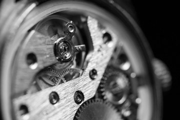 Mechanism inside an old watch