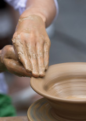 Potter Clay Bowl Child Hand