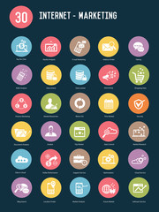 30 Internet marketing buttons,Color vector