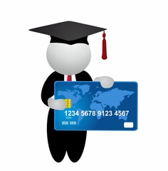 Student holding credit card