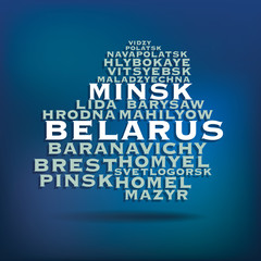 Belarus map made with name of cities