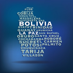 Bolivia map made with name of cities