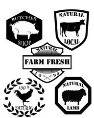 Набор старинных марок бойня мяса и этикеток
