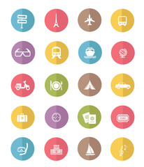 Travel and transport icon set,color vector