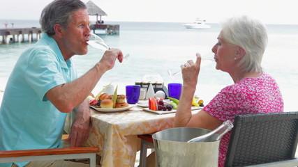Senior Couple Enjoying Meal In Seafront Restaurant