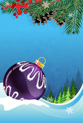 Christmas bauble on winter background