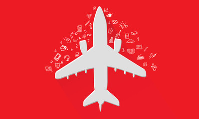 Airplane travel concept,vector